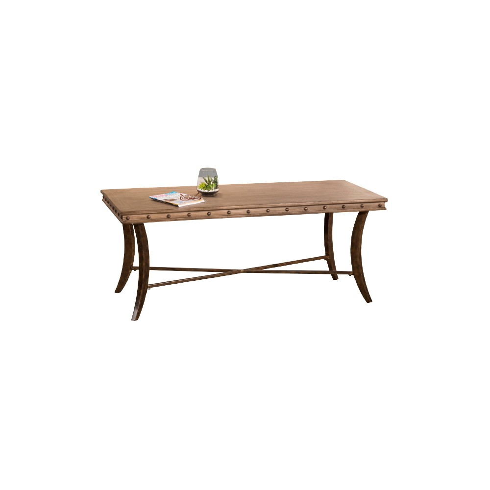 Emmons Wood & Metal Rectangle Coffee Table - Washed Gray - Hillsdale Furniture, Dark Gray