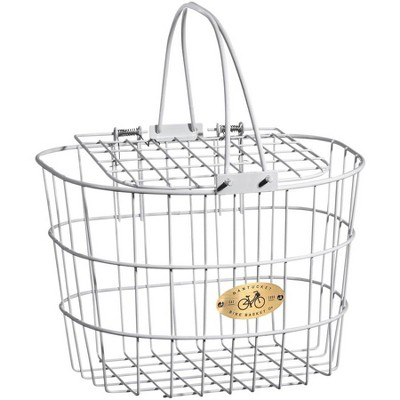 Nantucket Bike Basket Co. Surfside Adult Wire D Handlebar Basket with Lid: White Dimensions: 13.25 x 10 x 9""