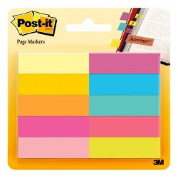 "Post-it 1/2"" x 2: 10pk 50 Page Markers - Assorted Bright Colors"