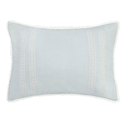 Laura Ashley Chloe Cross Stitch Embroidered Throw Pillow Blue