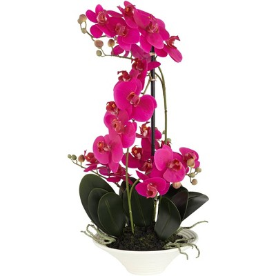 """Dahlia Studios Pink Orchid 24"""" High Faux Flowers in White Pot"""