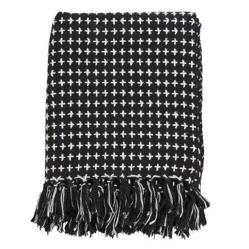 Cross Thread Throw Blanket Black - Saro Lifestyle - image 1 of 3