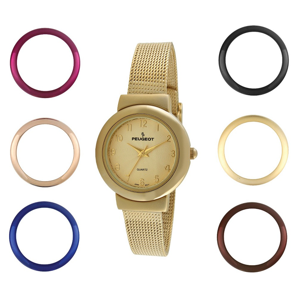 Image of Women's Peugeot Interchangeable Bezel Champagne Dial Watch Set - Gold, Size: Small