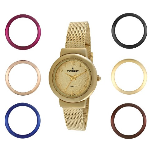Women's Peugeot Interchangeable Bezel Champagne Dial Watch Set - Gold - image 1 of 4