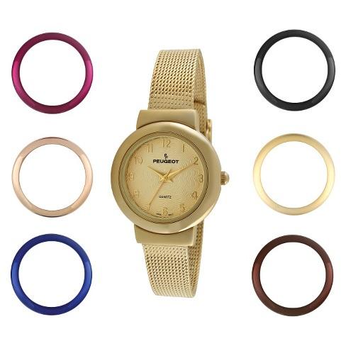 9ab2e3837d1 Women s Peugeot Interchangeable Bezel Champagne Dial Watch Set - Gold    Target