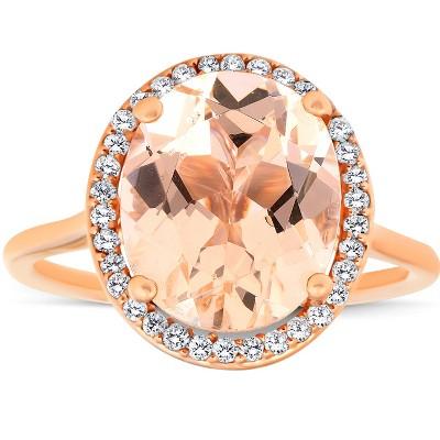 Pompeii3 5 1/2 Ct TW Halo Diamond & Oval 10x12 Morganite Ring 14k Rose Gold