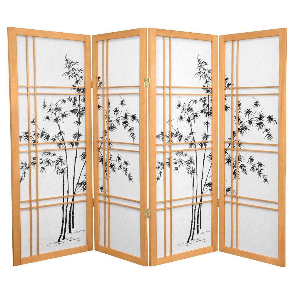 Image of 4 ft. Tall Bamboo Tree Shoji Screen - Natural (4 Panels)