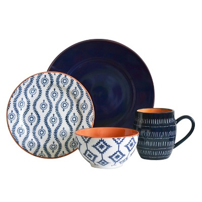 Baum Bros. Tangiers 16pc Dinnerware Set Blue