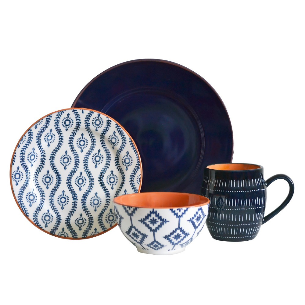 Image of Baum Bros. Tangiers 16pc Dinnerware Set Blue