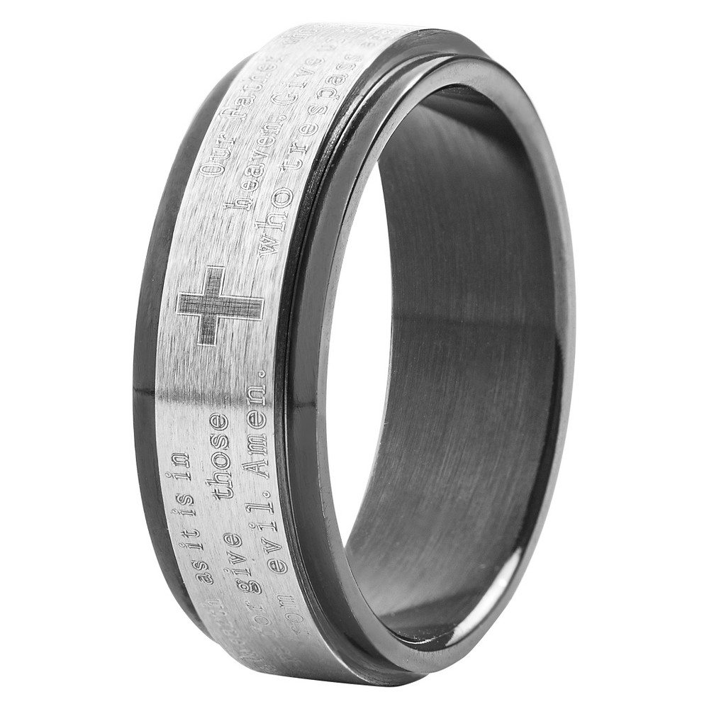 Men's West Coast Jewelry Blackplated Stainless Steel Lord's Prayer Spinner Ring (12), Black