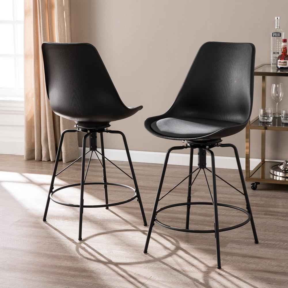 Image of 2pc Reni Counter Chairs Black - Aiden Lane