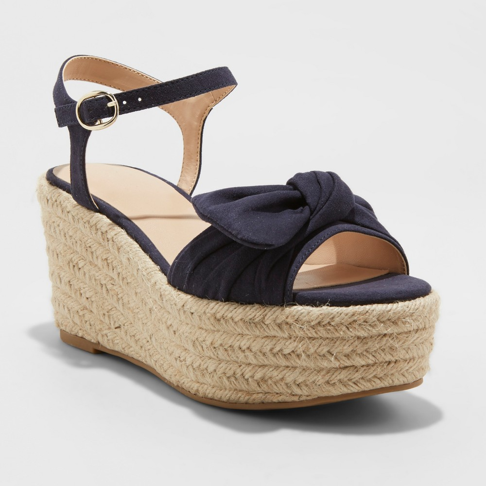 Women's Happy Bow Espadrille Wedges - A New Day Navy (Blue) 5.5