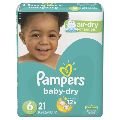 Pampers Baby Dry Diapers, Jumbo Pack - Size 6 - 21ct