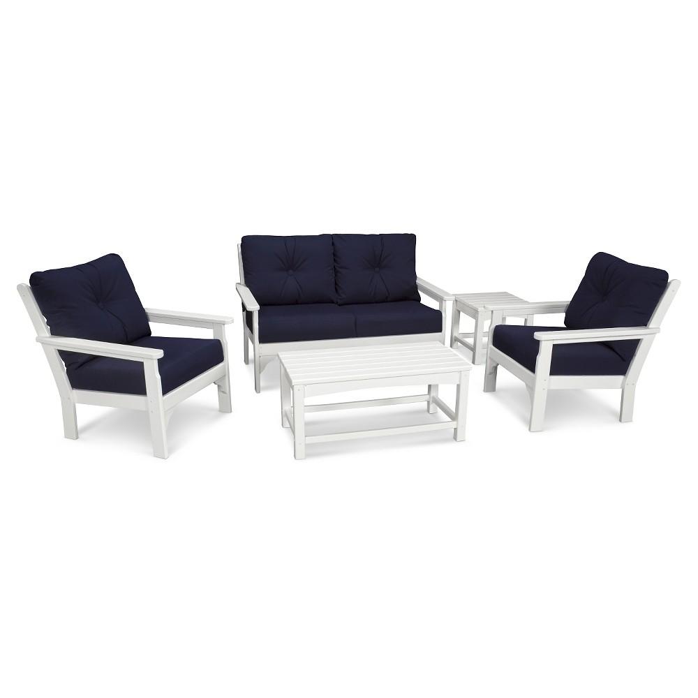 Polywood Vineyard 5 Piece Deep Seating Settee Set - White/Navy (Blue)
