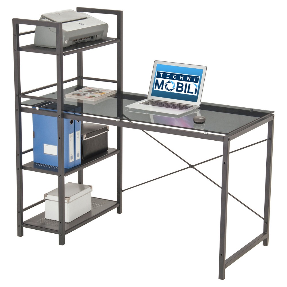 Modern Black Tempered Glass Top Computer Workstation with Gray Shelves - Techni Mobili
