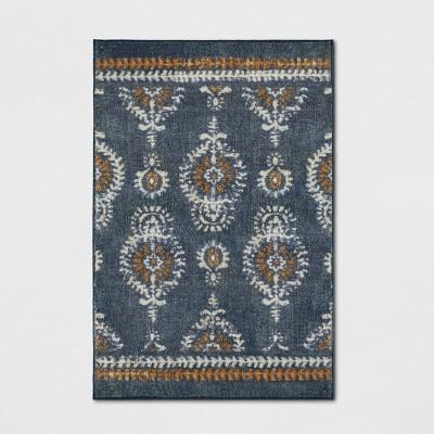 Journey Block Print Floral Rug Navy - Threshold™