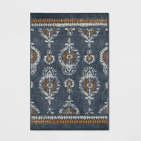 Journey Block Print Floral Rug Navy - Threshold™ - image 1 of 3