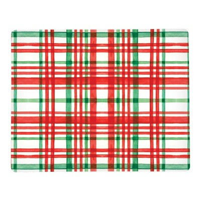C&F Home Watercolor Christmas Plaid Red & Green Hardboard Placemat Set of 6
