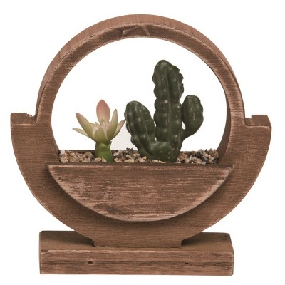 Transpac Wood 6 in. Brown Spring Worldly Faux Succluent Display