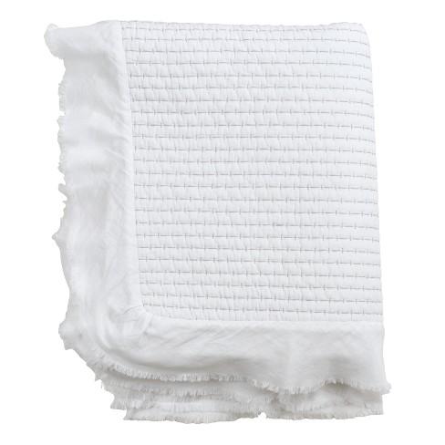 "50""x60"" Quilted Ruffle Trim Throw Blanket White - Saro Lifestyle - image 1 of 3"