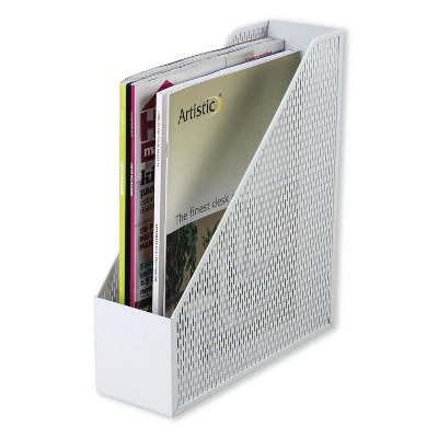 Artistic Urban Collection Punched Metal Magazine File, 3 1/2 x 10 x 11 1/2, White