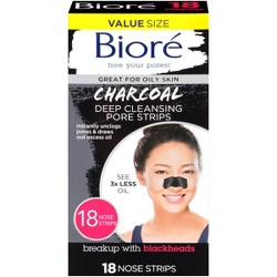 Biore Charcoal Deep Cleansing Pore Strips - 18ct