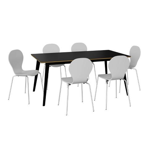 7pc Sampat Dining Table And Chairs Set Black White Handy Living Target