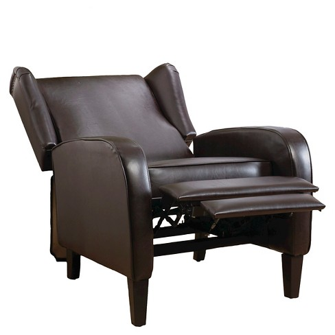 Carter Wing Back Bonded Leather Recliner Chair Brown Christopher Knight Home