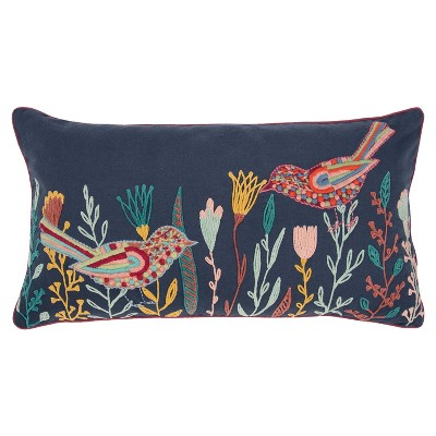 """14""""x26"""" Oversized Poly Filled Botanical with Birds Lumbar Throw Pillow - Rizzy Home"""