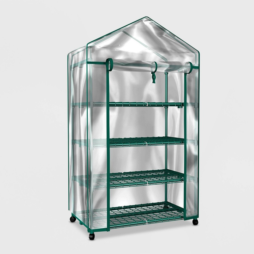 "Image of ""28"""" 4-Tier Mini Plastic Greenhouse Clear - Pure Garden, Clear Green"""