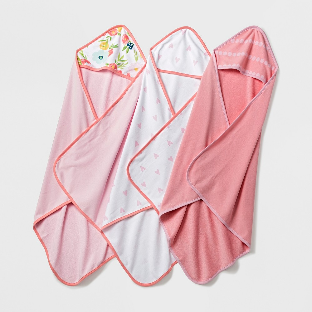 Baby Lightweight 3pk Hooded Towel Set - Cloud Island Pink/Coral (Pink/Pink)