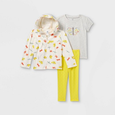 Toddler Girls' 3pc Butterfly Top and Bottom Set - Just One You® made by carter's Gold