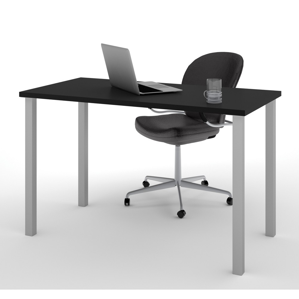 "Image of ""24""""X48"""" Table with Square Metal Legs Black - Bestar"""