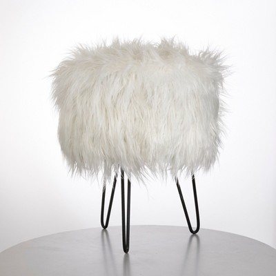 Patrice Faux Fur Stool White - Buylateral