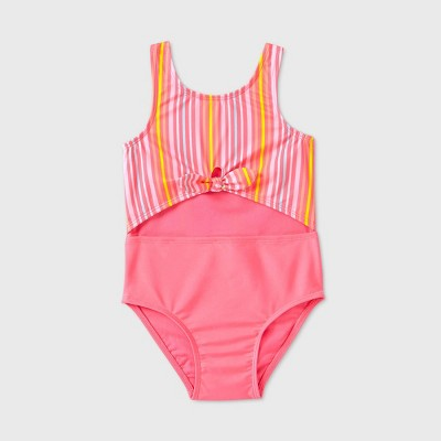 Toddler Girls' Striped Peek A Boo Tie-Front One Piece Swimsuit - Cat & Jack™ Pink