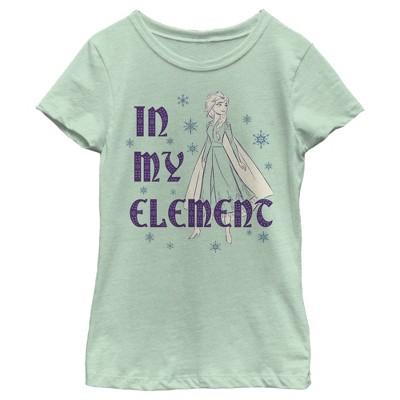 Girl's Frozen 2 Elsa In My Element Snowflakes Portrait T-Shirt