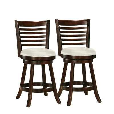 Set of 2 Counter Height Barstools Dark Cappuccino White - CorLiving