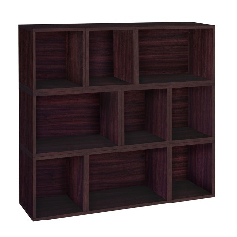 Way Basics Oxford 9 Stackable Cubes Storage - Modular Bookcase, Espresso - Lifetime Guarantee - image 1 of 3