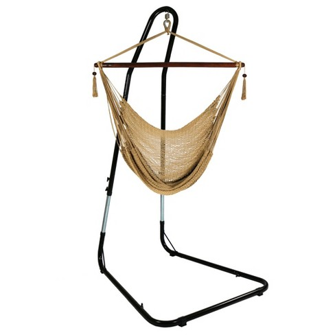 Caribbean Hanging Rope Hammock Chair and Stand - Tan - Sunnydaze Decor - image 1 of 6