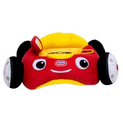 Little Tikes Cozy Coupe Plush Car Baby Toddler Lounger Seat with Working Car Horn, Reflective Side Mirror, and Convenient Cup Holder, Red Car