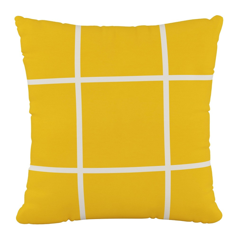 """Image of """"18""""""""x18"""""""" Polyester Pillow in Grid Yellow - Cloth & Company"""""""