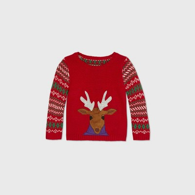 Baby Reindeer Christmas Family Pullover Sweater - Red 12M