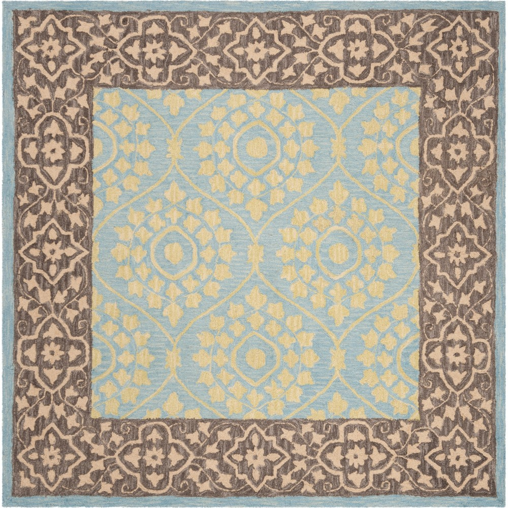 5'X5' Leaf Hooked Square Area Rug Chocolate/Yellow - Safavieh, Brown