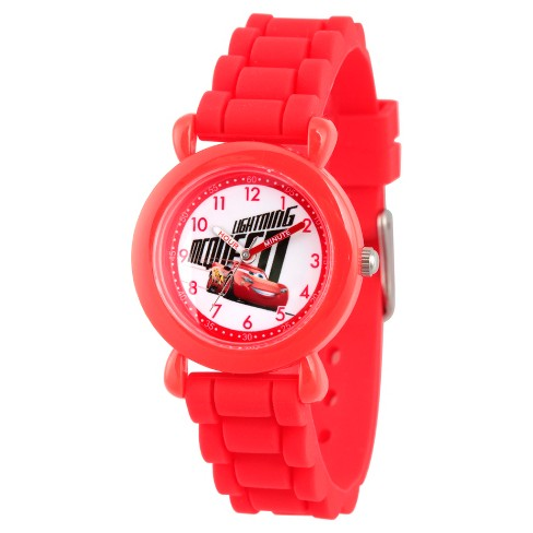 Boys' Disney Cars 3 Lightning Mcqueen Red Plastic Time Teacher Watch - Red - image 1 of 2