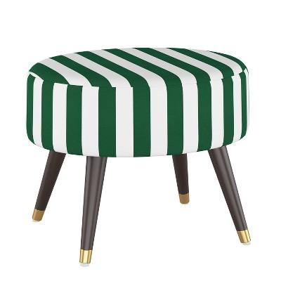 Oval Ottoman Canopy Stripe Emerald - Skyline Furniture