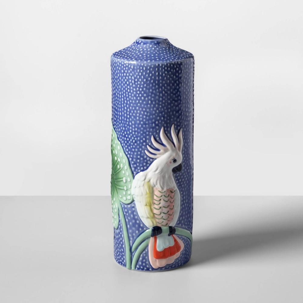 "Image of ""12.3"""" x 4.5"""" Ceramic Majolica Bird Vase Blue - Opalhouse"""
