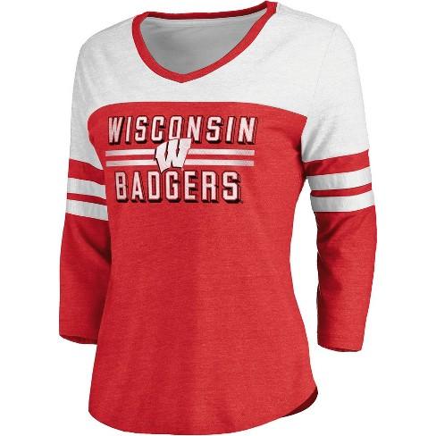 NCAA Wisconsin Badgers Women's Gray & White V-Neck 3/4 Sleeve T-Shirt - image 1 of 3