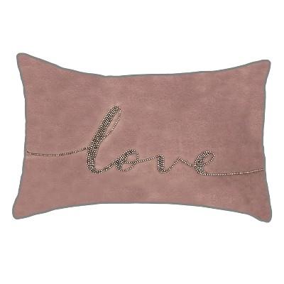 12x18 Celebrations Beaded Love Lumbar Pillow Mauve Edie Home Target