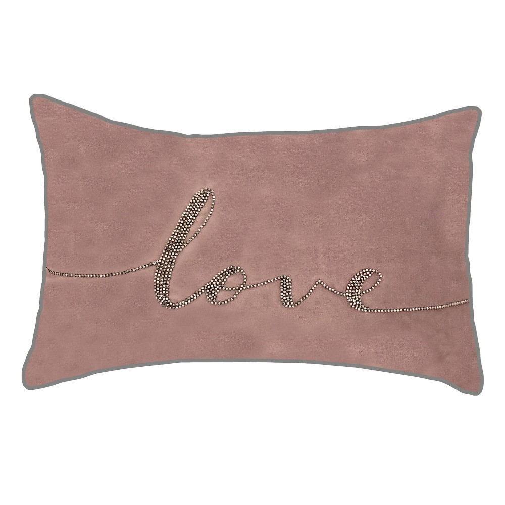 "Image of ""12x18 Celebrations Beaded """"Love"""" Lumbar Pillow Mauve - Edie@Home, Purple"""