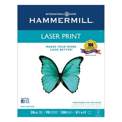 Hammermill Laser Print Office Paper 98 Brightness 28lb 8-1/2 x 11 White 500 Shts/Ream 125534